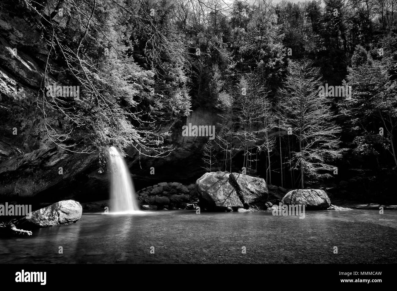 Lower Falls at Old Man's Cave in Hocking Hills Ohio in black and white. This is a very popular tourist attraction in Ohio. - Stock Image