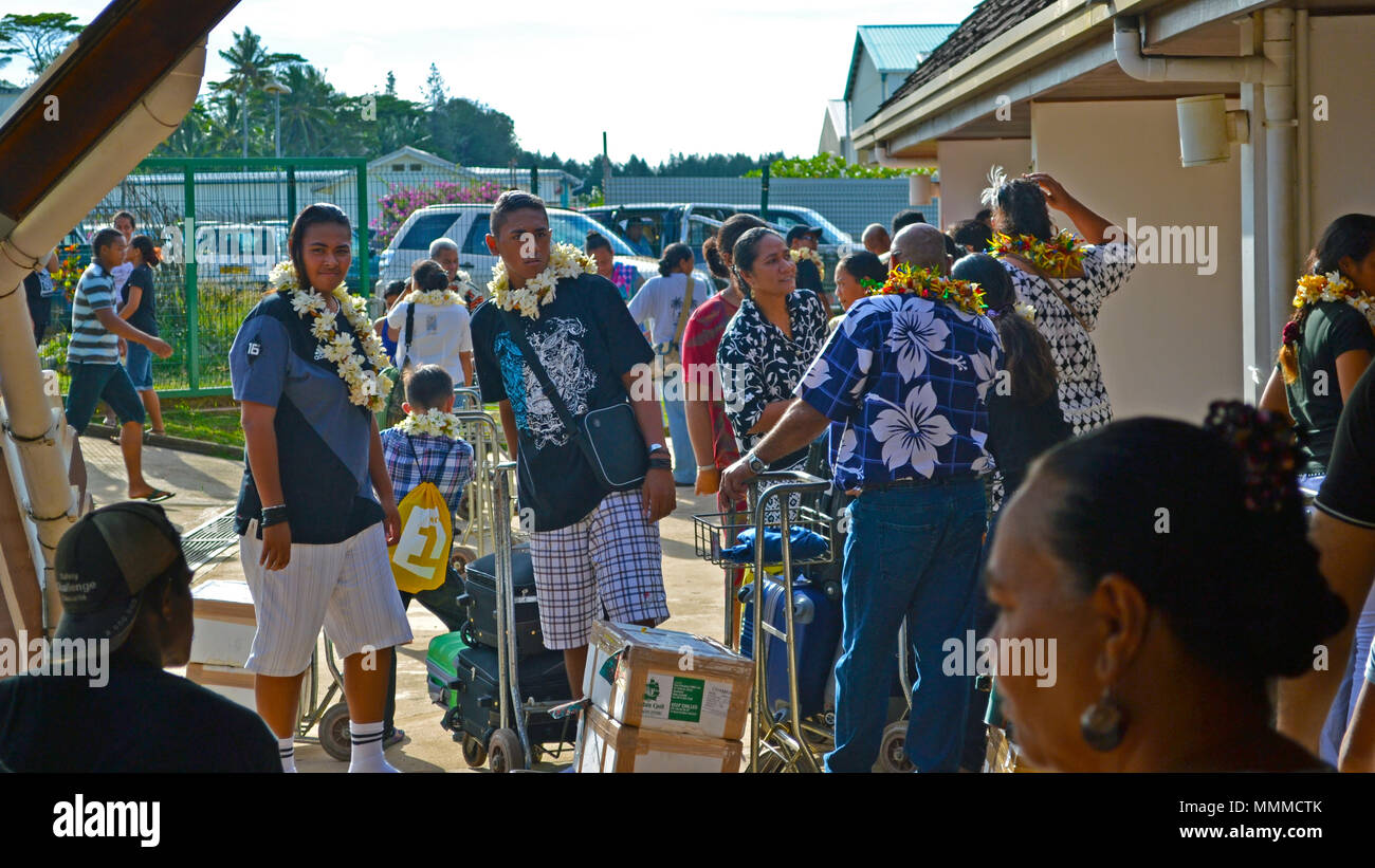 People greeting area at the International Airport of Hihifo, Wallis Island, Wallis & Futuna - Stock Image