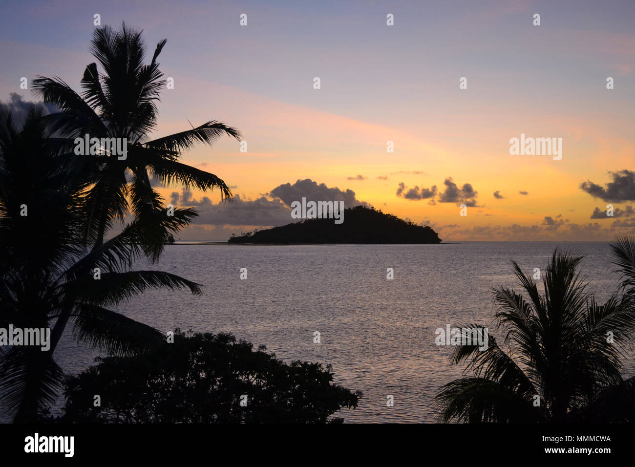 Sunset view of Luaniva motu, Wallis Island, Wallis & Futuna, South Pacific - Stock Image