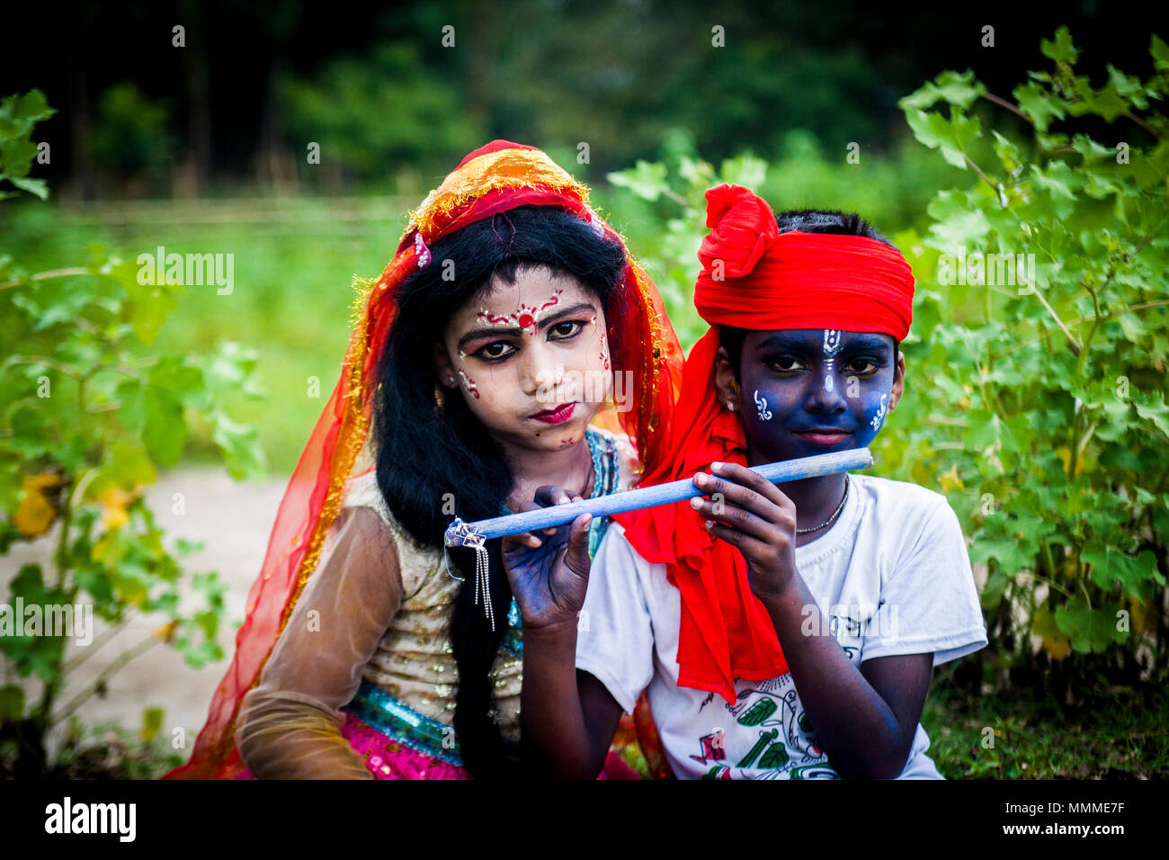 Painted face on the occasion of Charak puja at Tangail in Bangladesh on April 14, 2018. - Stock Image