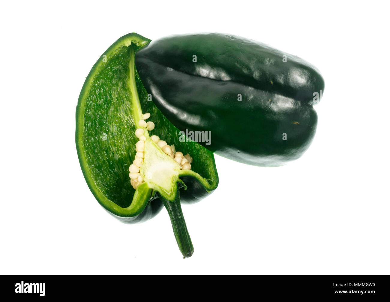 The Poblano pepper is a type of Capsicum annuum. It is a mild chili originated from the State of Puebla in Mexico. Dried is called ancho or chili anch Stock Photo