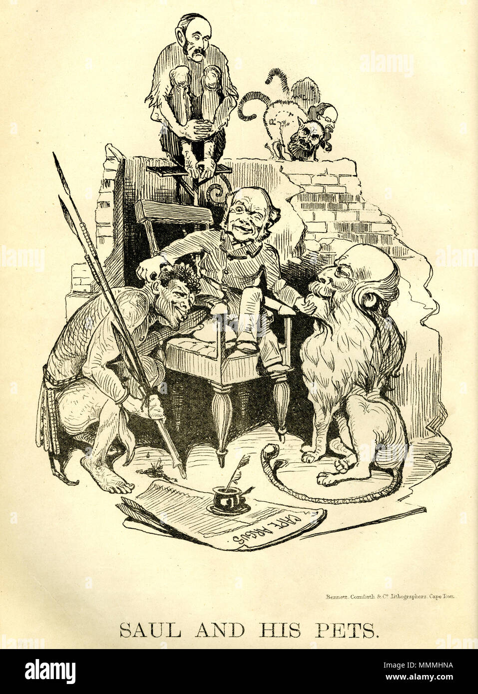 . English: Reactionary and racist pro-imperialist cartoon from the Cape Lantern. Attacking liberal leader Saul Solomon as being the manipulator of the principal anti-imperialist leaders of southern Africa. The depicted pets are Zulu King Cetshwayo, the Beaufort lion John Molteno and the monkey John X Merriman in the background.  . 22 October 2013, 19:40:02. WH Schroder. 1879. 2 Saul Solomon and his pets - Solomon with Cetshwayo Merriman and Molteno - Feb 1879 - Stock Image