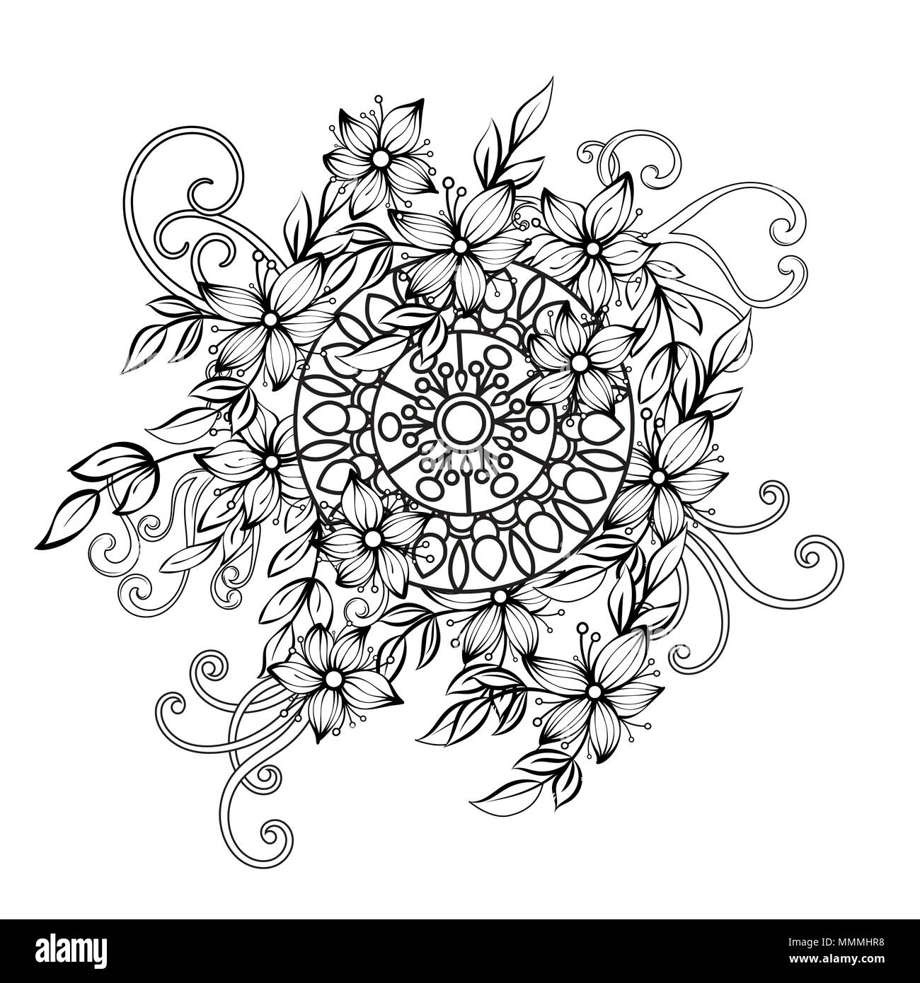 Floral pattern in black and white color. Adult coloring book page with flowers and mandala. Art therapy, anti stress coloring page. Hand drawn vector illustration - Stock Image