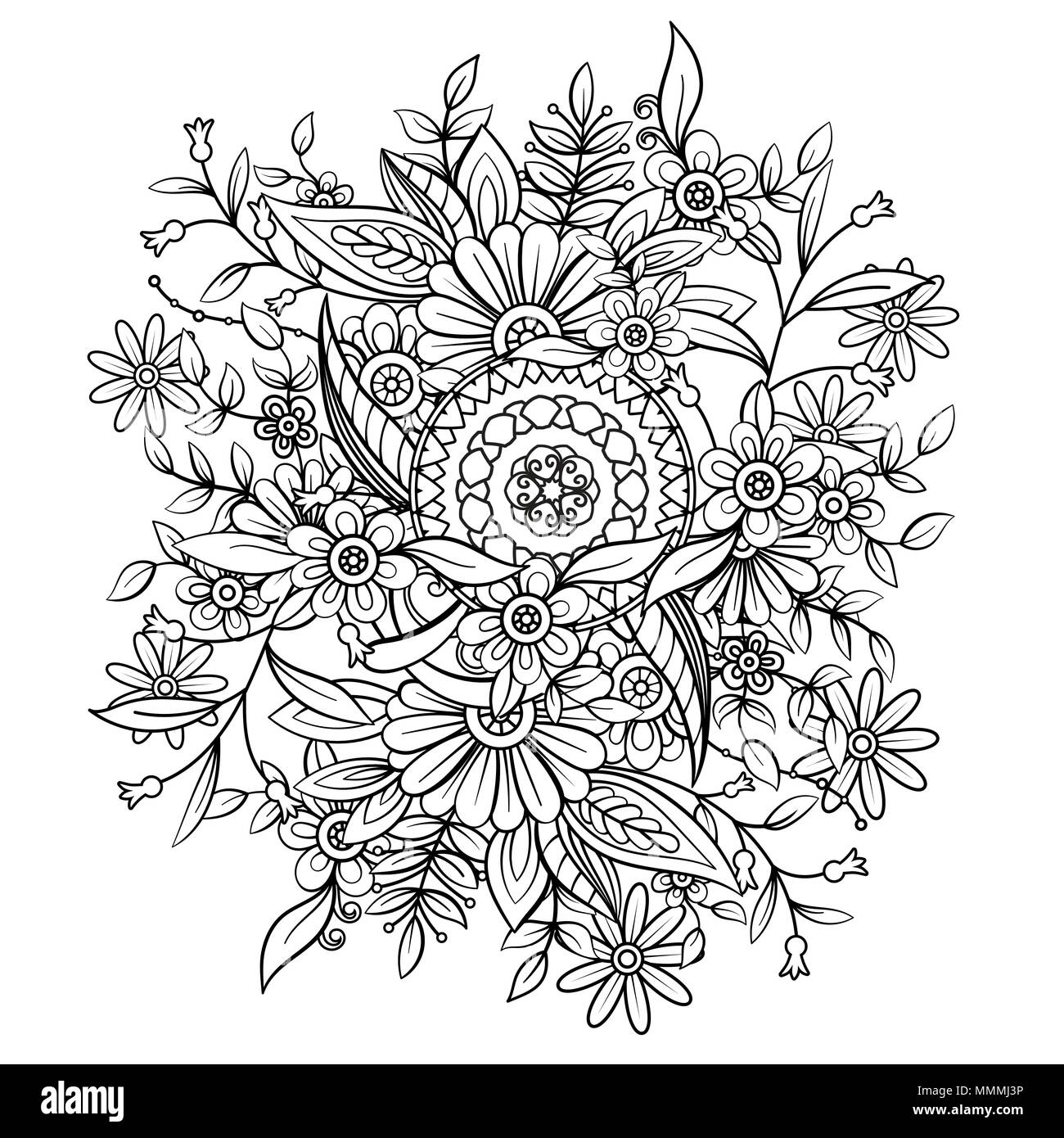 Floral Pattern In Black And White Adult Coloring Book Page With