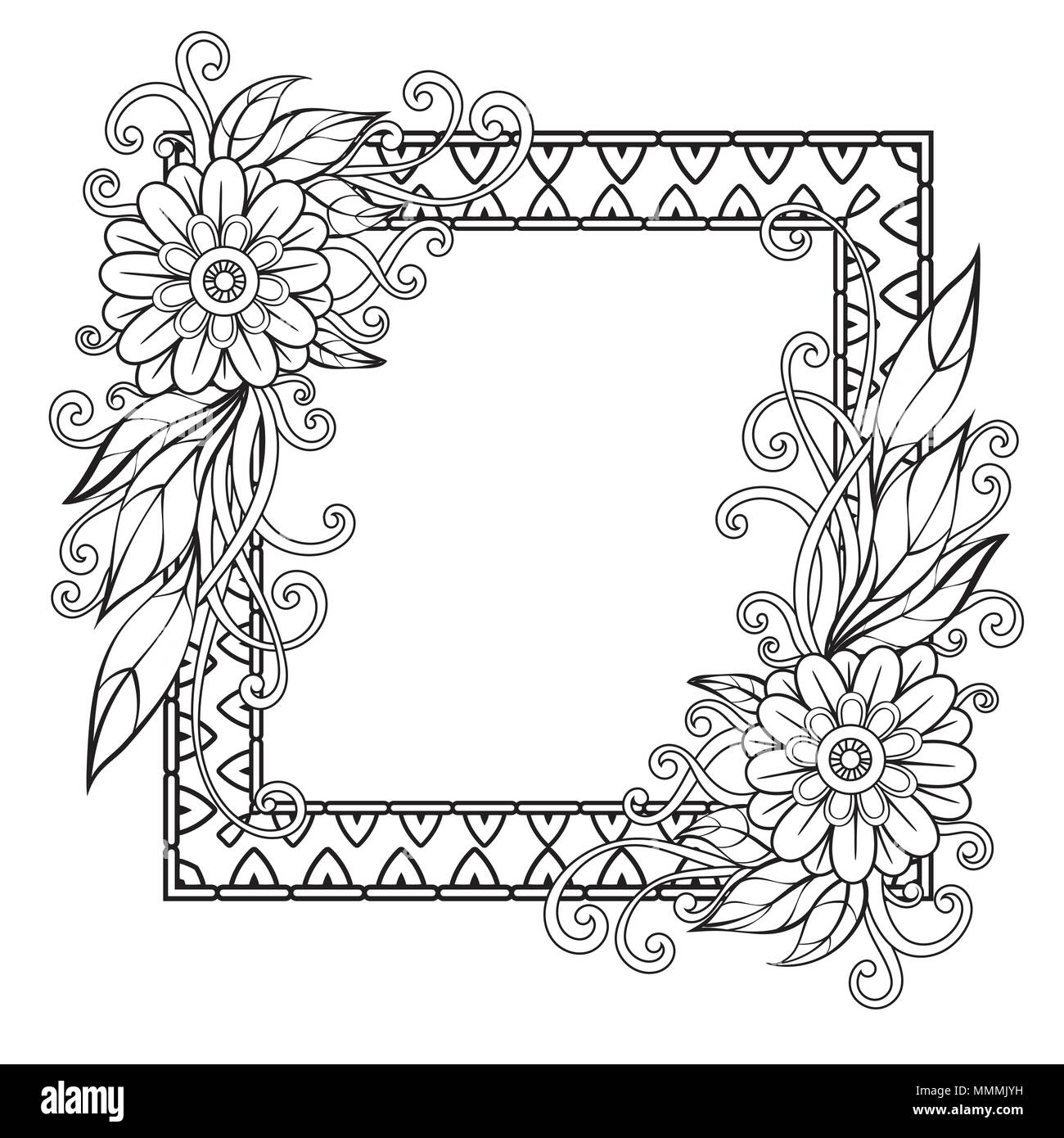 Flowers decorative frame. Isolated on white background. Floral ...