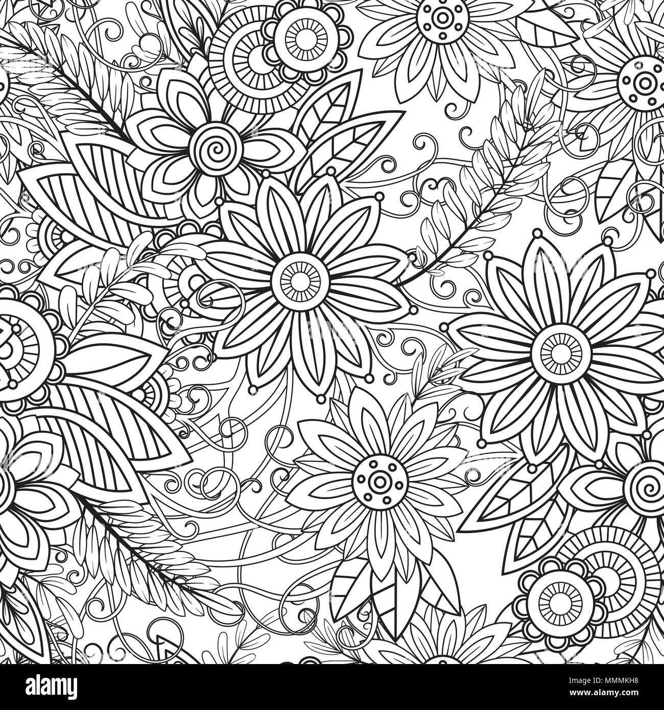 Doodles Floral Ornament Black And White Decorative Elements Perfect For Wallpaper Adult Coloring Books Web Page Background Surface Textures