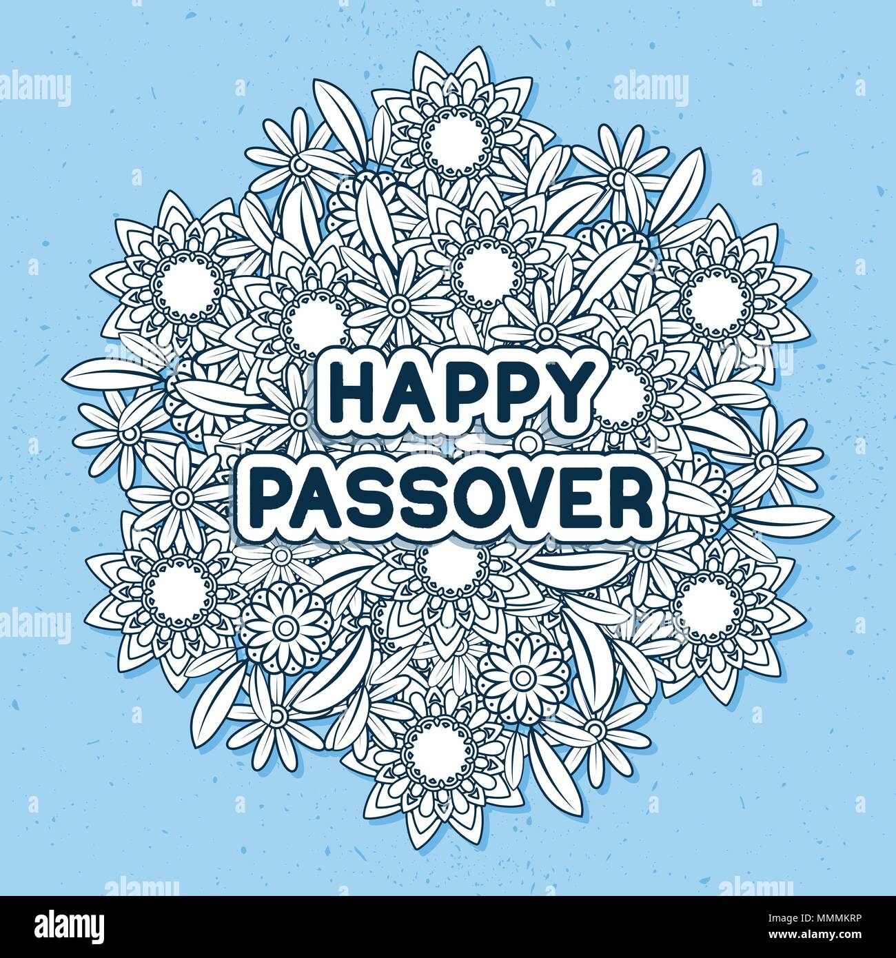 Jewish holiday greeting card template spring flowers bouquet jewish holiday greeting card template spring flowers bouquet greeting text happy passover linear style vector illustration blue background m4hsunfo