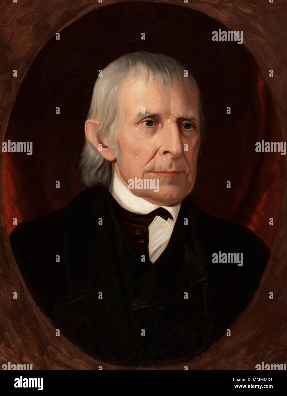 . English: A painting of Adam Eckfeldt, chief coiner of the US Mint from 1814-1839. Image was cropped from the original downloaded version to remove the 3 dimensional gold frame. This image was published in 1893 in black and white in the book 'Illustrated History of the United States Mint, Philadelphia, Pennsylvania; George G. Evans'.  . circa 1845. Portrait by Samuel Du Bois (b.1808, d.1889), portrait artist from Doylestown, Pennsylvania. Adam Eckfeldt Color Painting Ellipse - Stock Image