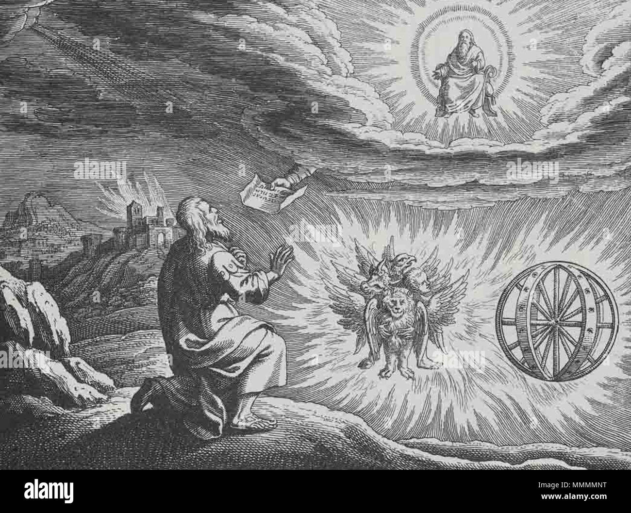 . English: Engraved illustration of the 'chariot vision' of the Biblical book of Ezekiel, chapter 1, made by Matthaeus (Matthäus) Merian (1593-1650), for his 'Icones Biblicae' (a.k.a. 'Iconum Biblicarum').  . before 1650. Matthaeus (Matthäus) Merian (1593-1650) Ezekiel-Vision-Merkaba - Stock Image