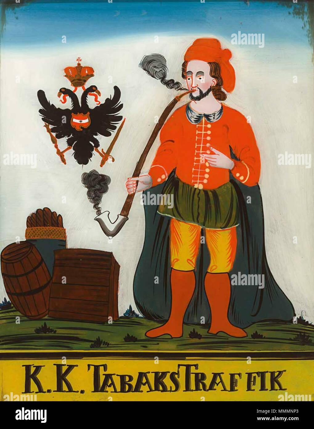 . Tabakhändler in türkischer Tracht, eine Pfeife rauchend, begleitet vom K. und k. Doppeladler, tituliert 'K.K. Tabakstraffik'. Böhmen, 19. Jh. 44,8 x 34,6 cm  . 19th century. Anonymous Hinterglasbild Trafik - Stock Image