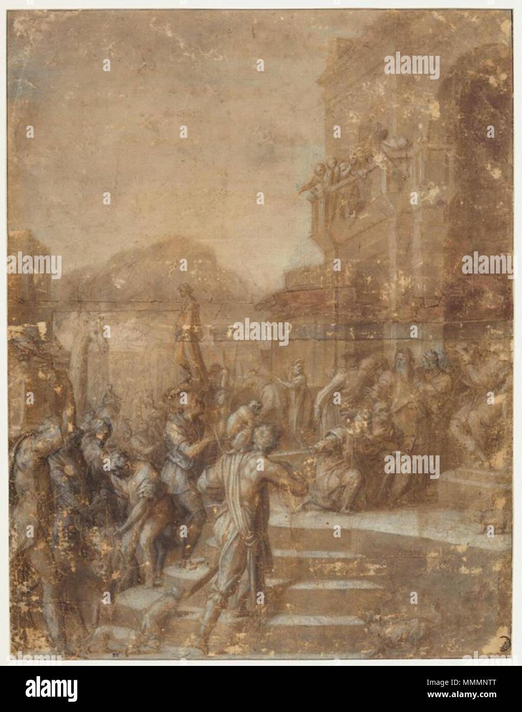 . Andrea del sarto, disegno per il tributo a cesare, louvre.jpg  . 1520s. see filename or category Andrea del sarto, disegno per il tributo a cesare, louvre - Stock Image