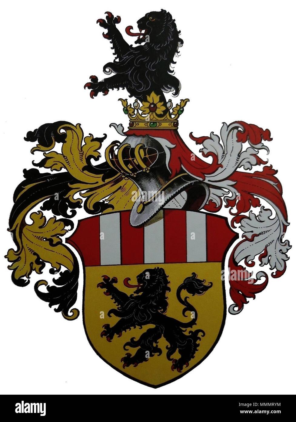 . Deutsch: Wappen des Ingenieurs Dr. h.c. Ferdinand Neureiter senior, Direktor der österreichischen Siemens-Schuckertwerke, dem Kaiser Karl I. von Österreich 'aus Anlass der Vollendung des Neubaues der Exportakademie in Wien und dessen außergewöhnlichen Verdiensten in diesem Zusammenhang' mit Allerhöchster Entschließung zu Wien am 9. April 1918 den erblichen österreichischen Adelsstand als Edler von Neureiter verliehen hatte. Das entsprechende Adelsdiplom wurde am 9. Juli 1918 in Wien ausgestellt. Zeichnung aus den Akten im Österreichischen Staatsarchiv Wien, Allgemeines Verwaltungsarchiv, Ade Stock Photo