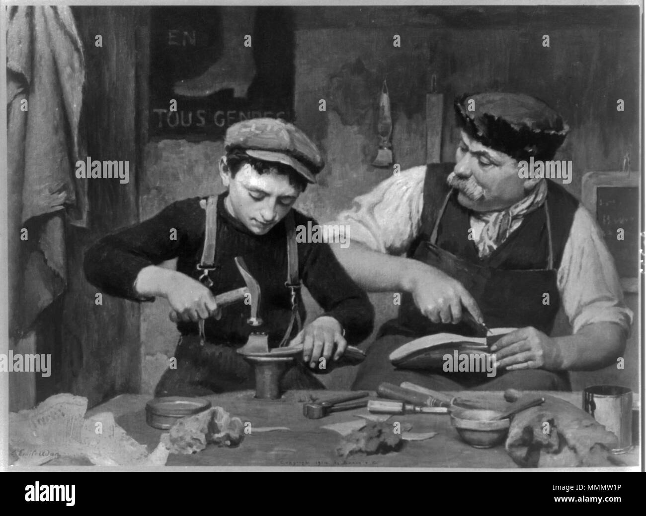 . English: Apprentice. Man and boy making shoes.  . circa 1914. Repro. of painting by (Louis-?)Emile Adan (1839-1937), copyrighted by Braun & Co., N.Y. 53 Apprenticeship - Stock Image