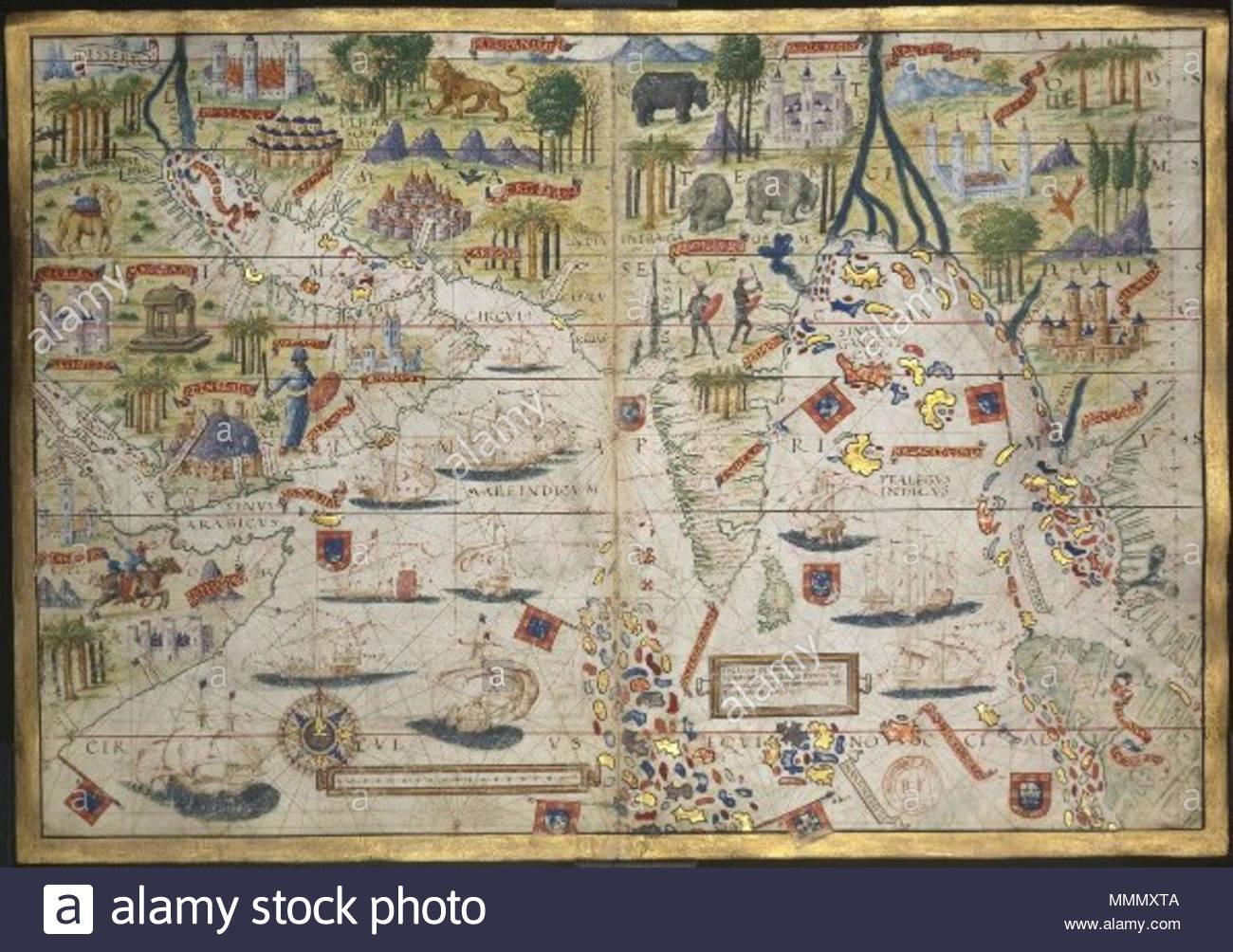 . English: Map of the Atlas Miller showing the Indian Ocean. Español: Mapa del Atlas Miller que muestra el océano Índico.  . circa 1519. Unsigned. Attributed to Lopo Homem, Jorge Reinel, Pedro Reinel and Antonio de Holanda. 62 AtlasMiller BNF OceanoIndico - Stock Image