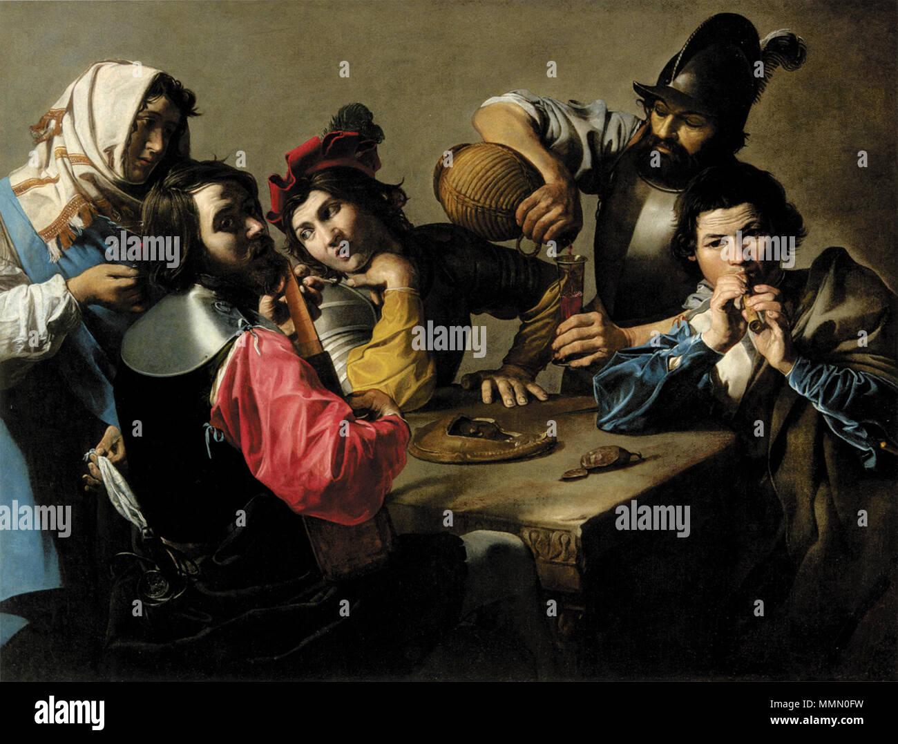. English: Concerto  . circa 1615. Valentin de Boulogne - Indianapolis, Museum of Art Concerto - V. de Boulogne - Stock Image