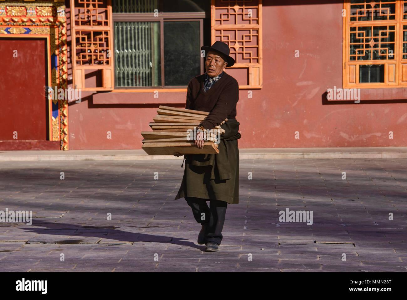 Tibetan woodblock prints at the holy Bakong Scripture Printing Press Monastery in Dege, Sichuan, China - Stock Image