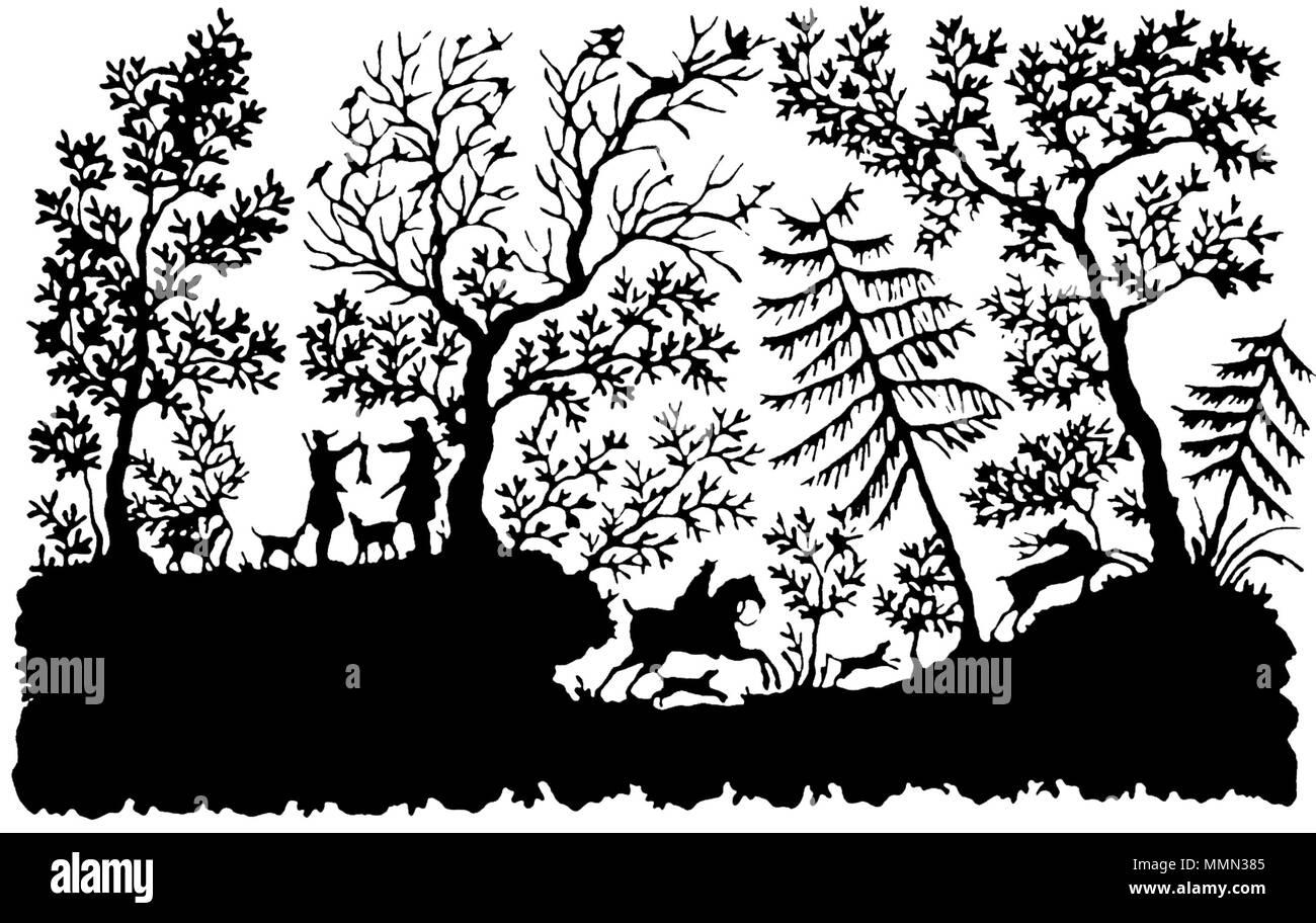 """. English: Papercutting by Bettina von Arnim, titled """"Jagdszene"""" (German for """"hunting scene"""") Deutsch: Scherenschnitt mit dem Titel """"Jagdszene"""" von Bettina von Arnim 83 Bettina von Arnim - Scherenschnitt CLEANED TRANSPARENT Stock Photo"""