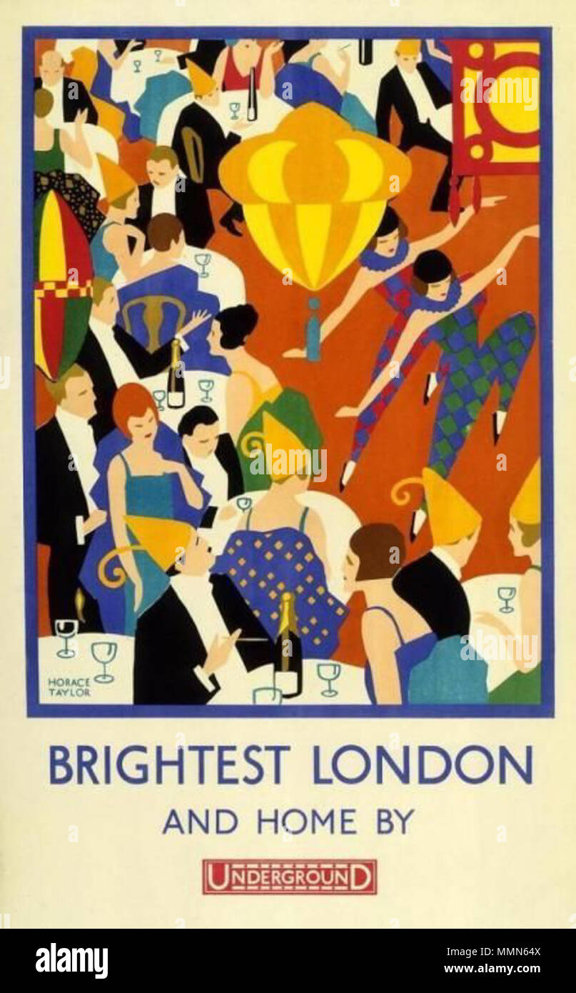 . The London Underground Electric Railway Company Ltd published this poster in 1924  . 1924. Horace Taylor 98 Brightest London and Home By Underground - Stock Image