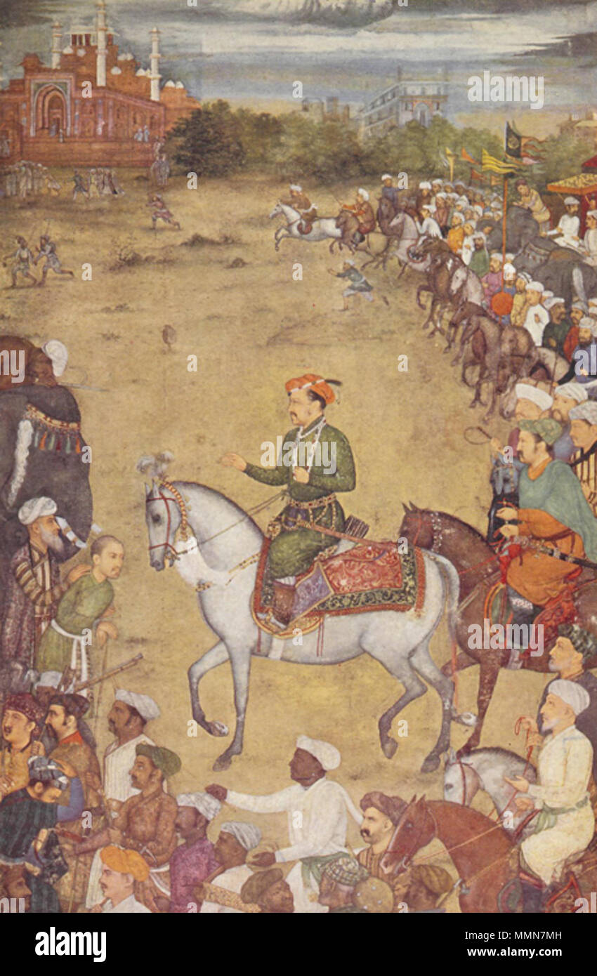 . Jahangir Receives a Prisoner, from the Jahangir-nama, c1620 Held by The Chester Beatty Library, Dublin: CBL In 34.5.  Jahangir was depicted by his painters, some of whom accompanied him on all his journeys, in every aspect of his life. In this picture he is riding, with a cavalcade of courtiers and attendants, many mounted on horses or elephants, and is passing orders on a bound prisoner who is bowing before him. A clue to the subject is afforded by the representation, in the background, of Akbar's tomb at Sikandra, near Agra. Jahangir visited this tomb, which is still standing, at least twi - Stock Image