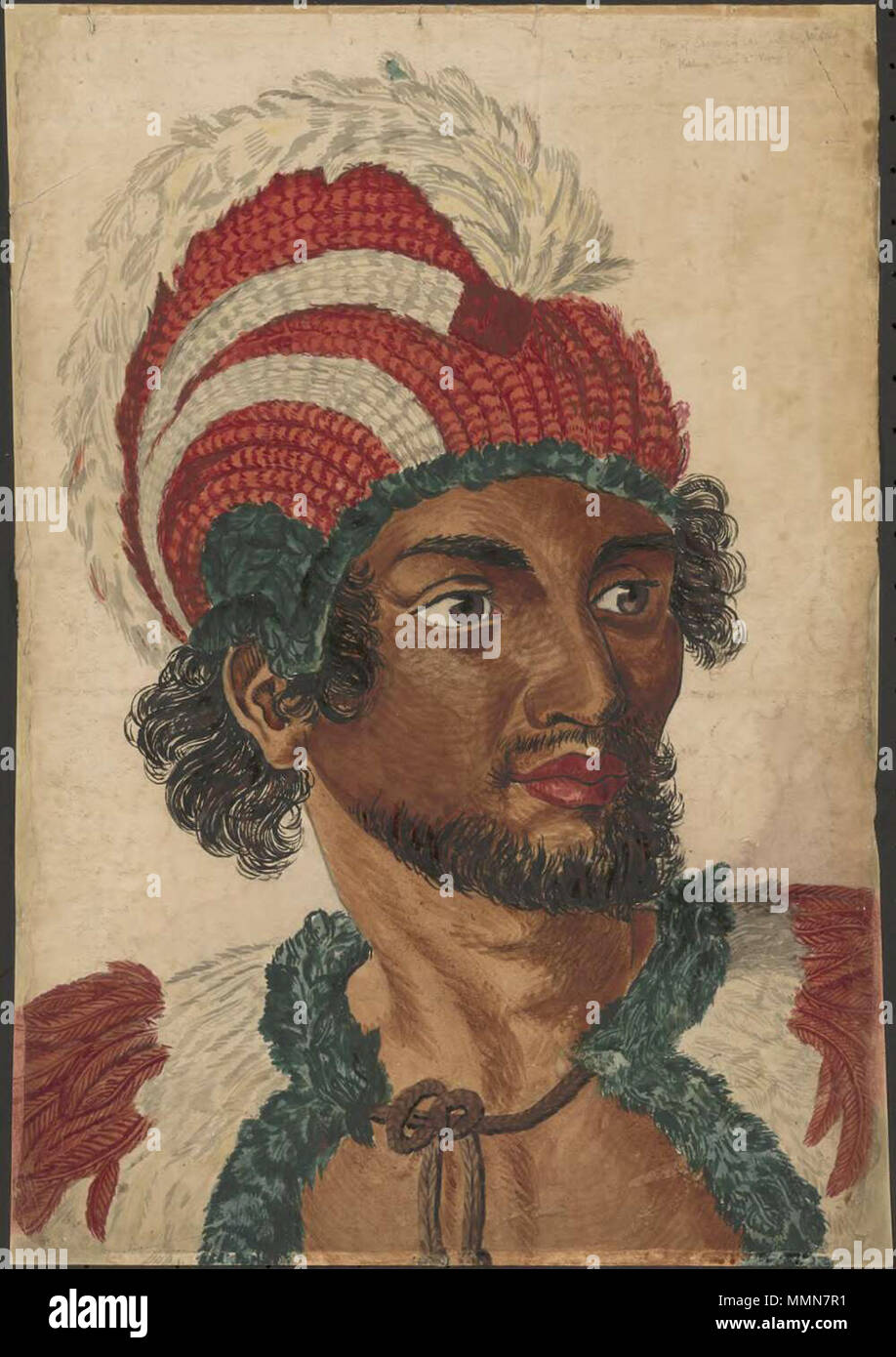 English a colored portrait based on the portrait of kaneena a english a colored portrait based on the portrait of kaneena a chief of the sandwich islands in the north pacific by john webber the actual spelling is m4hsunfo