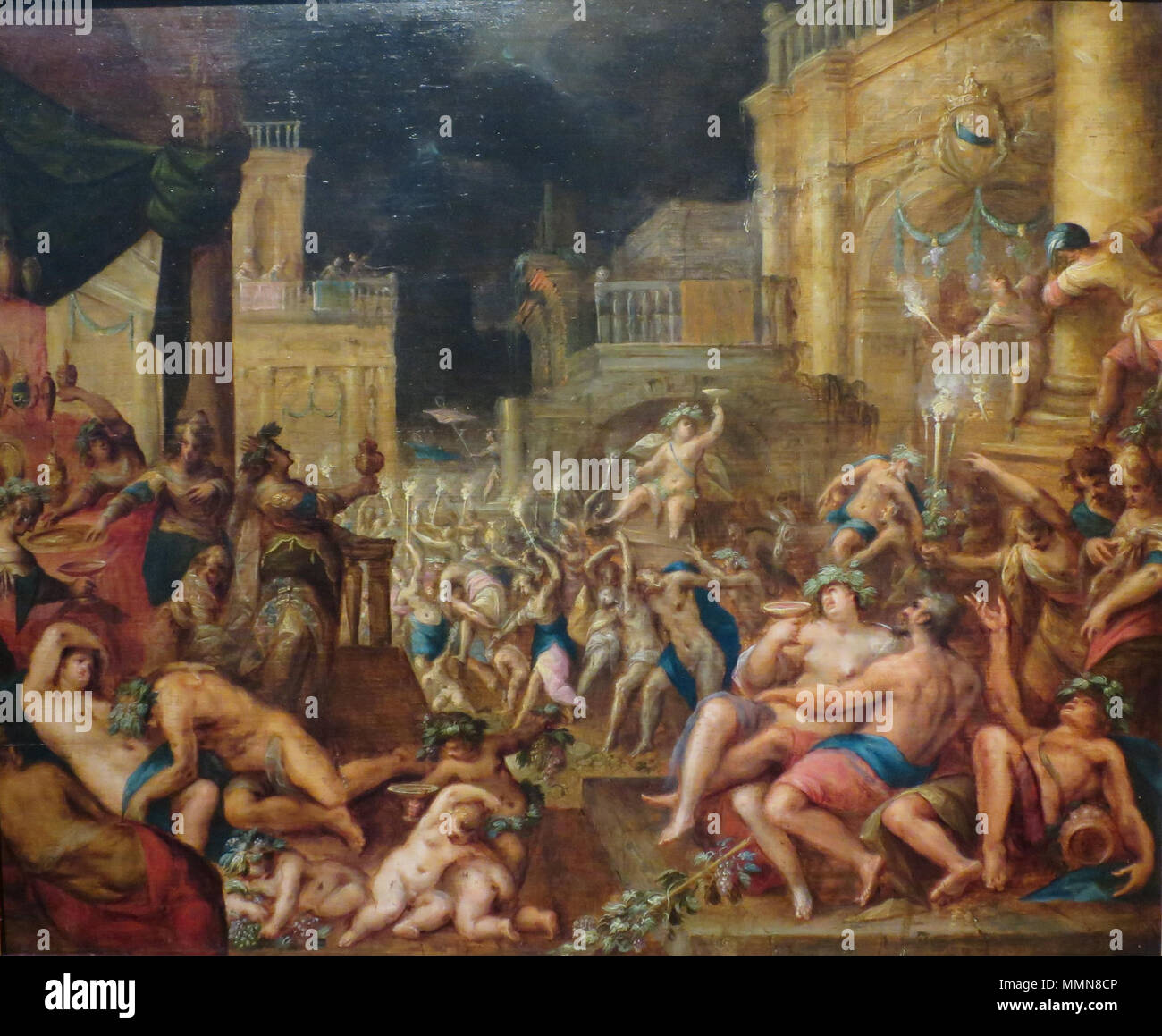 English: Midas's Feast in Honor of Bacchus and Silenus . 1598. 'Midas's Feast in Honor of Bacchus and Silenus' by Gillis van Valckenborch Stock Photo