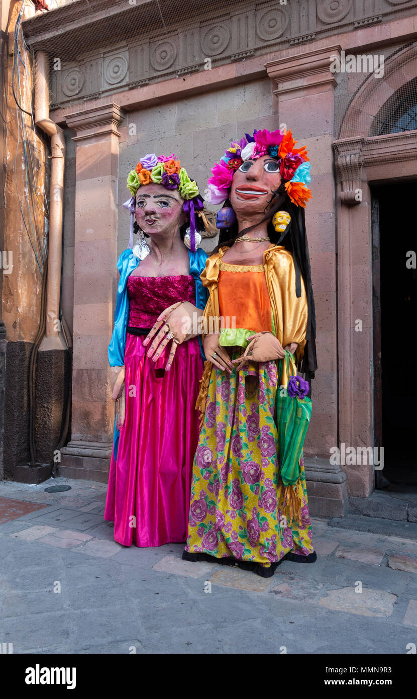 Giant puppets called mojigangas in San Miguel de Allende, Mexico - Stock Image