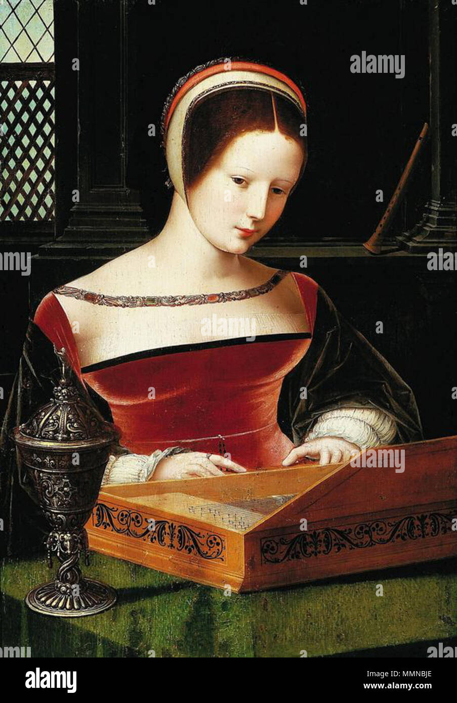 Lady playing a clavichord.. circa 1530. Master of Female Half Lengths Lady - Stock Image