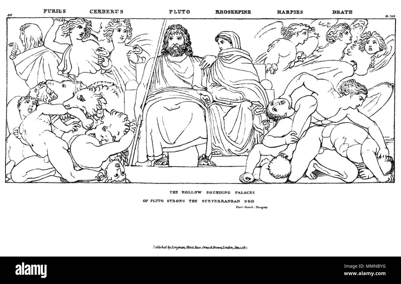 .  English: Blake afrer Flaxman: Hesiod, Theogony John Flaxman, Compositions From the Works Days and Theogony of Hesiod, copy 1, object 36 (Bentley 456.36) 'Furies Cerberus Pluto Rroserpine Harpies Death' Description from the source listed below. Sector E plate Illustration: Pluto (Hades to the Greeks), god of the underworld, and his consort Proserpine sit facing forward on a throne at the center of the design, surrounded by attendants. Pluto's right arm is extended down by his side, resting against the staff, scepter, or rod that is propped against his right shoulder. Proserpine, wearing a go - Stock Image
