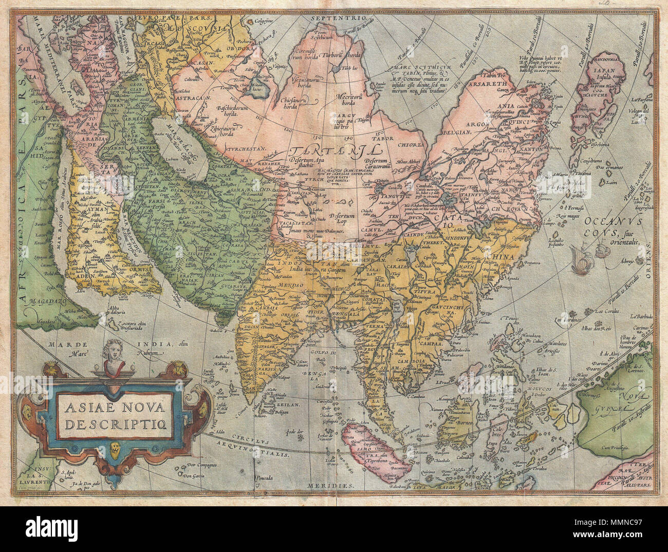 Map Of Asia North South East West.English A Scarce And Stunning First Edition Example Of Abraham