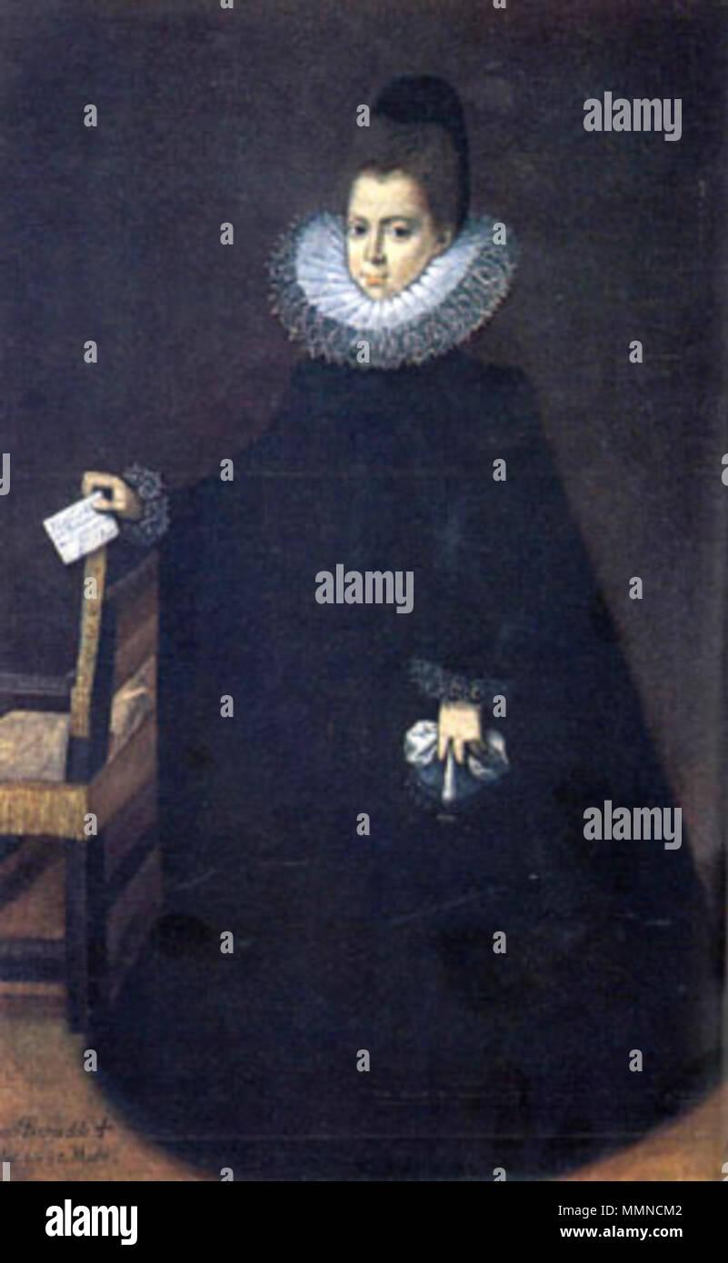 .  Español: María Luisa de Aragón, duquesa de Villahermosa (c.1583-1663), hija de una de las hermanas de Polyxena de Lobkowitz. El retrato fue dedicado a María Manrique de Lara, abuela de la chiquilla que en la pintura tiene 7 años, pero parece una mujer adulta por su vestido de luto llevado en memoria de su padre que un año antes muriera en la cárcel.  . circa 1593. Juan Pantoja de la Cruz 008 Stock Photo
