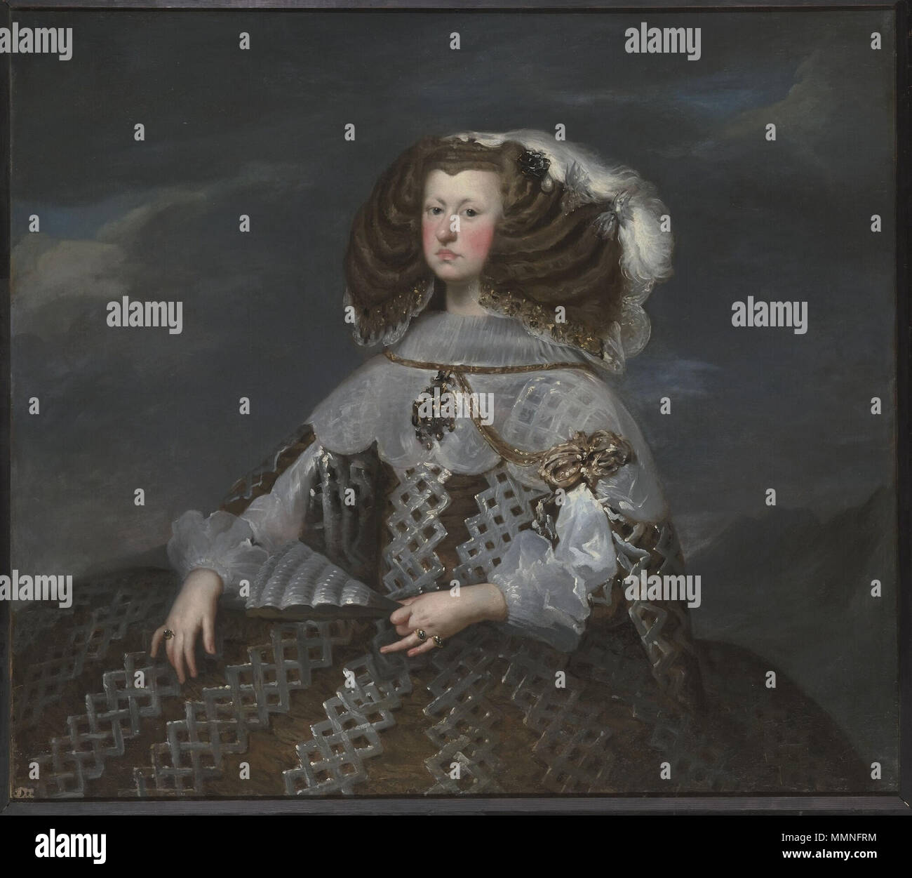 .  Maria Anna, Archduchess of Austria and Queen of Spain, second wife of King Felipe IV. of Spain, mother of King Carlos II. of Spain Type d'objet tableau Auteur / Exécutant VELASQUEZ Diego Précision auteur Séville, 1599; Madrid, 1660 Ecole Espagne Titre MARIE-ANNE D'AUTRICHE, REINE D'ESPAGNE (1635-1696) , DITE AUTREFOIS MARGUERITE D'AUTRICHE, REINE D'ESPAGNE Inscription inscription donnant l'identité du modèle (ancienne) Sujet représenté portrait (Marie-Anne d'Autriche, femme, en buste, de trois-quarts) Lieu de conservation Versailles; musée national du château et des Trianons Musée de Fran Stock Photo