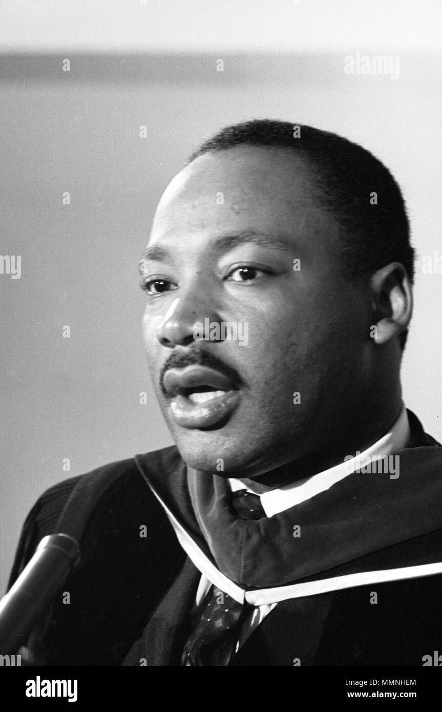 Reverend Martin Luther King, Jr. in clerical robes on March 2, 1965 - Stock Image