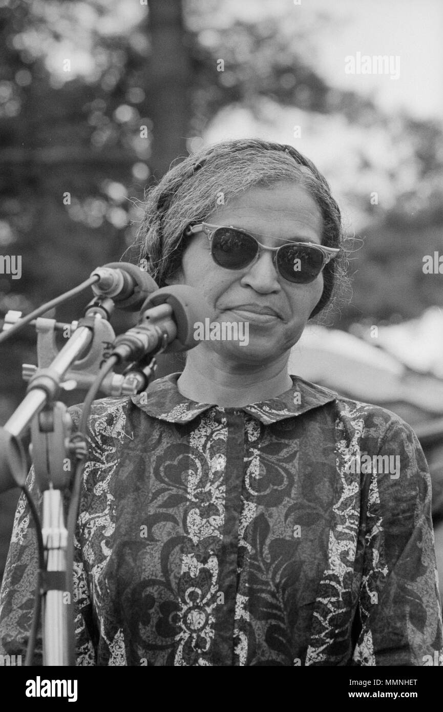 Rosa Parks, one of the speakers at a rally near the Washington Monument, Washington D.C. on June 19, 1968 held as part of the Poor People's Campaign. - Stock Image