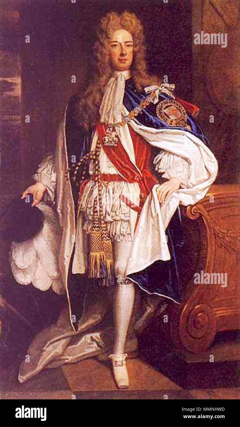 Portrait of John Churchill, 1st Duke of Marlborough in Garter Robes. circa 1705. Marlborough-duke-first - Stock Image