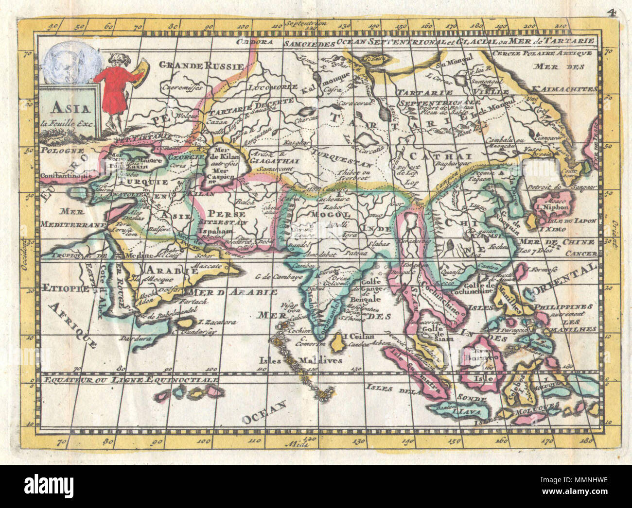 Map Of Asia Today.English A Very Scarce C 1706 Map Of Asia Issued By Daniel De La