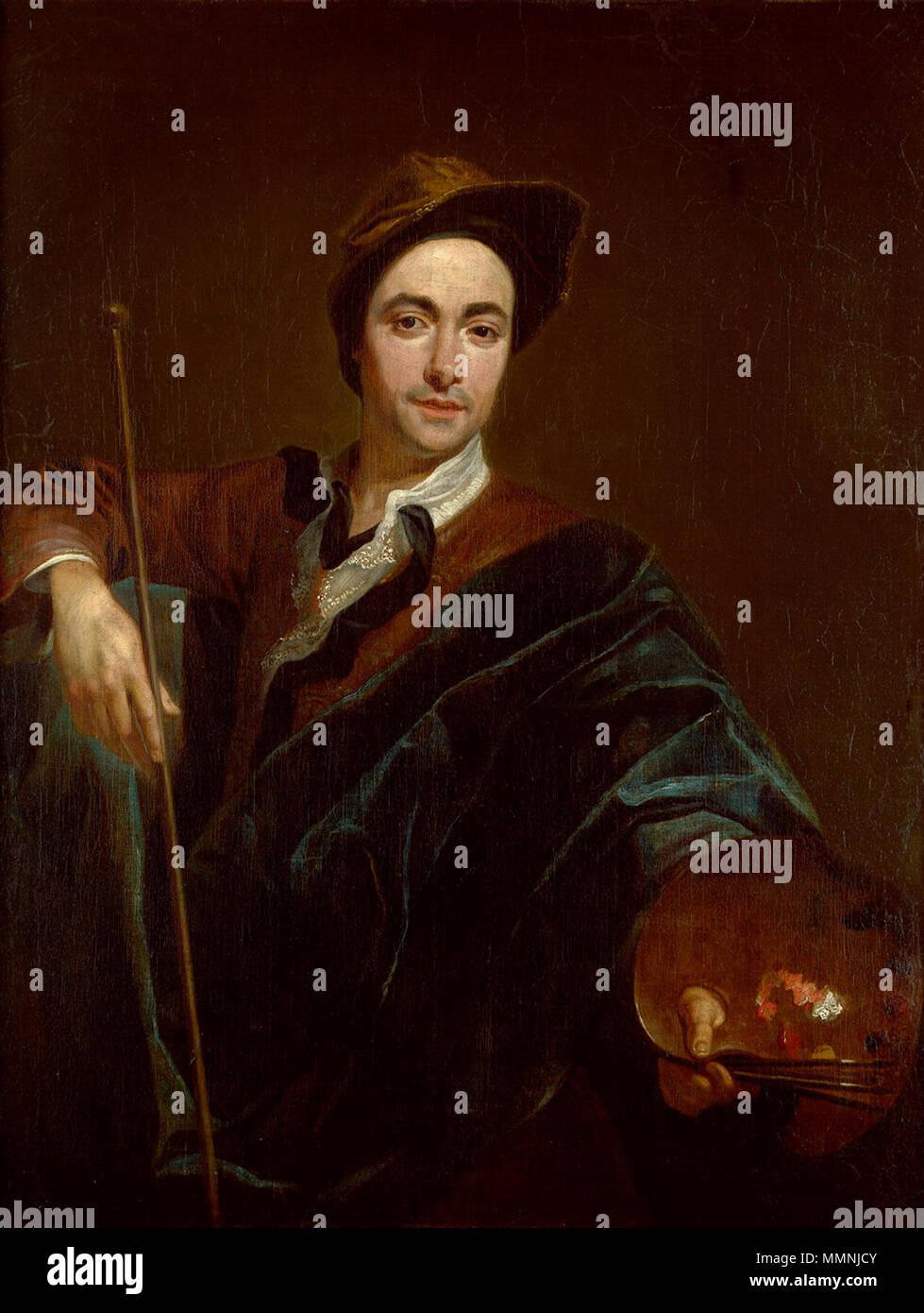 .  Deutsch: Selbstbildnis mit Malstock und Palette.  Self-portrait. circa 1720. Markus Friedrich Kleinert Selbstbildnis mit Malstock und Palette - Stock Image