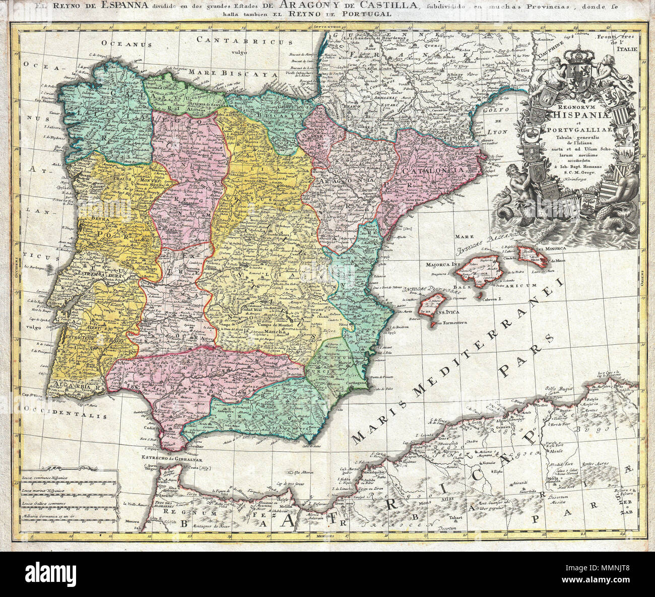 Map Of Northern Spain And Portugal.English A Beautifully Detailed C 1730 J B Homann Map Of Spain