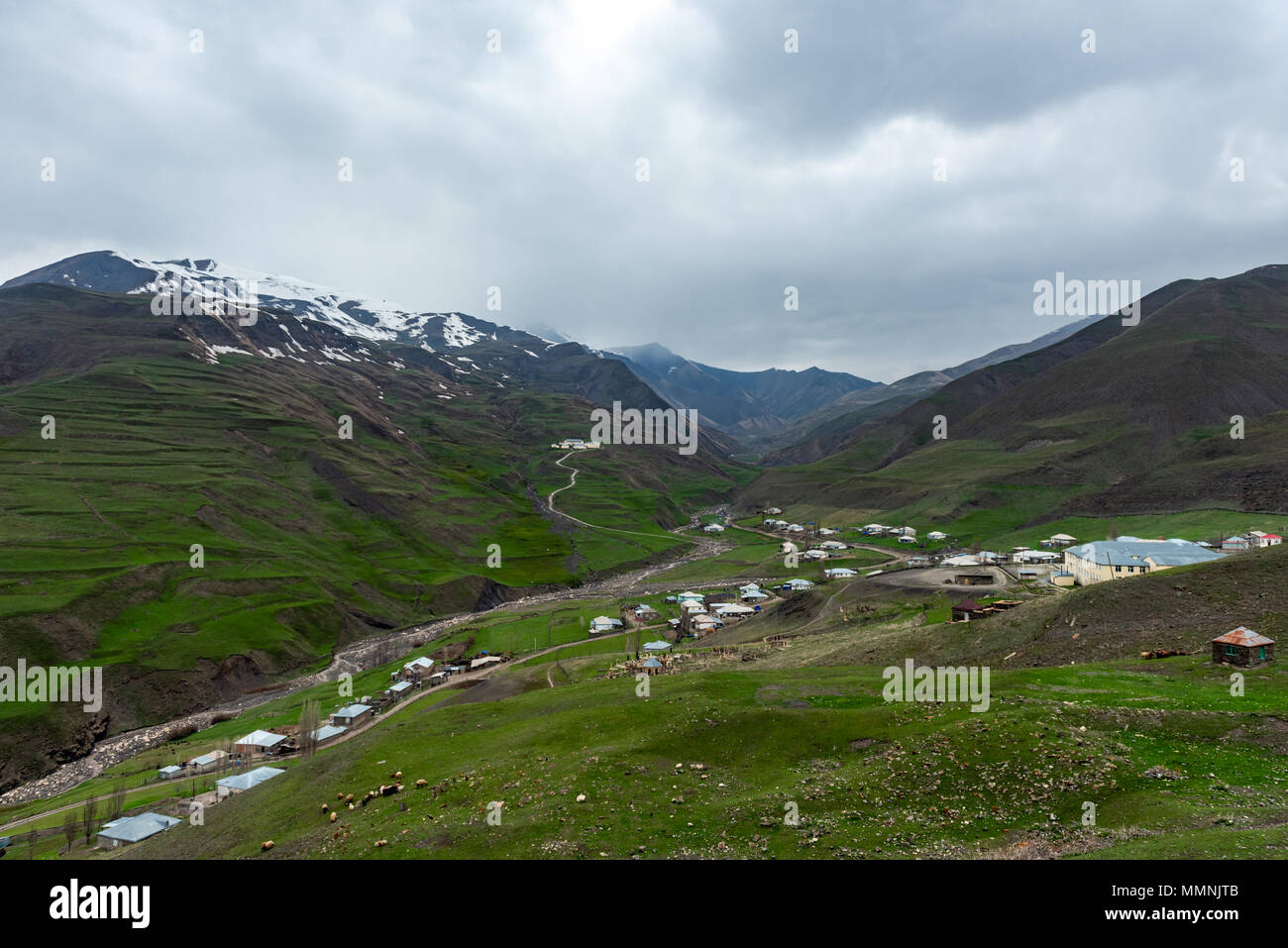 Ancient highmountains village Khynalyg, Azerbaijan. Buildings, houses and way of life - Stock Image