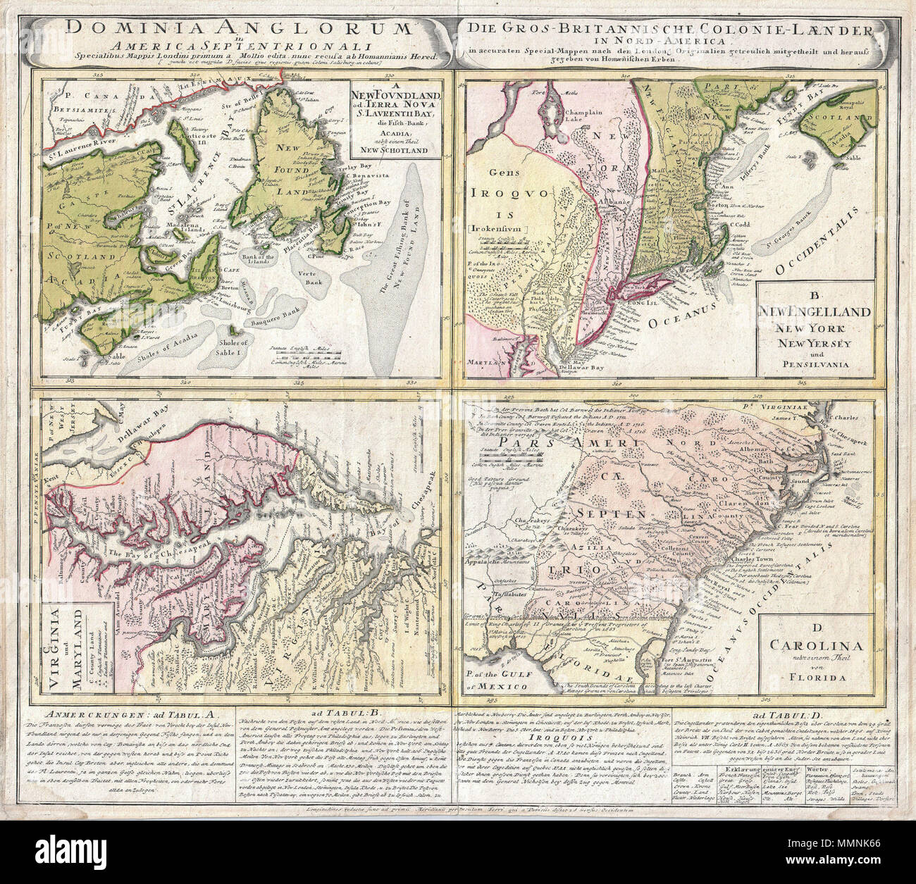 English: A spectacular example of the Homan Heirs 1737 map of the ...