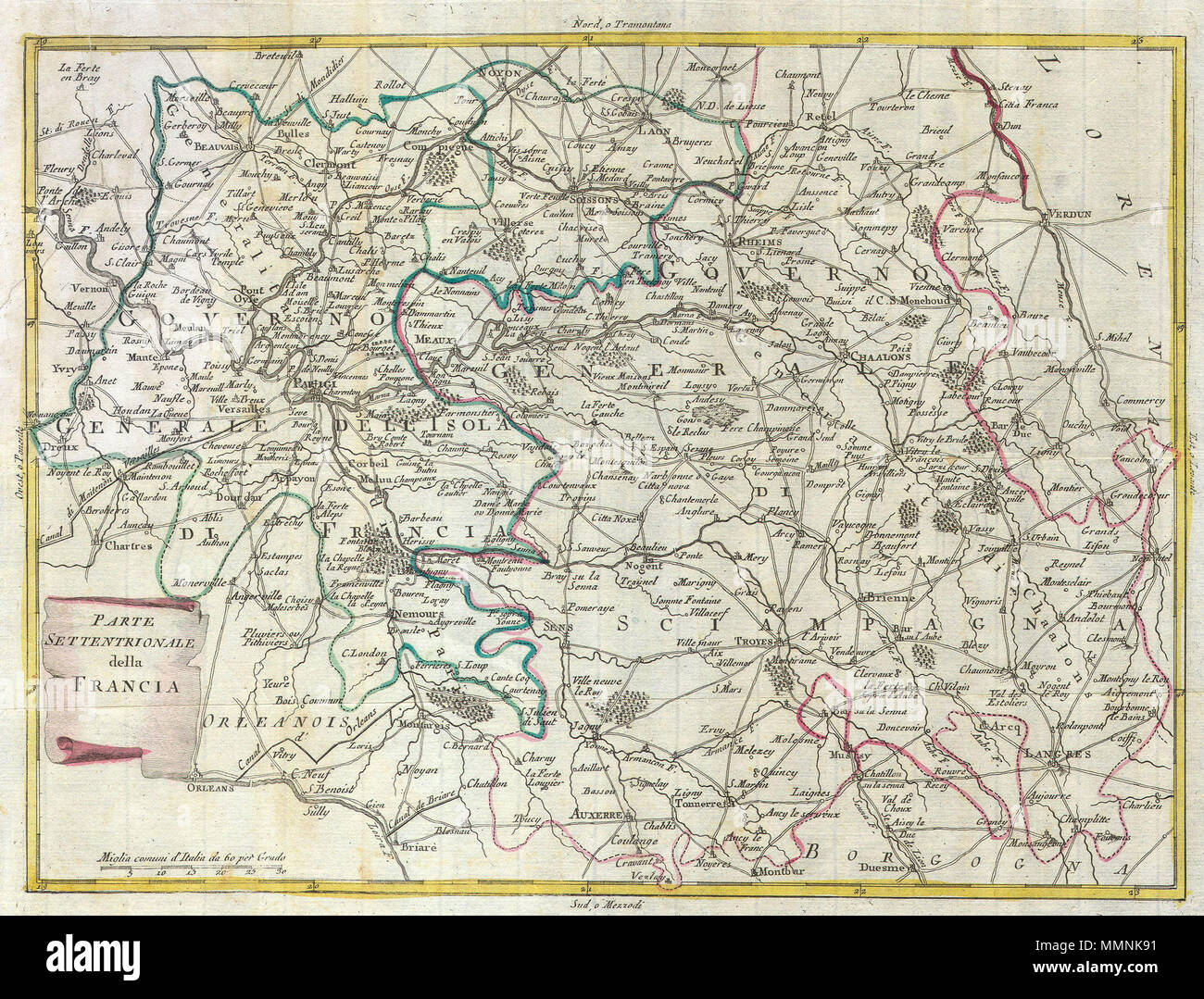 English Map Of France.English This Map Is A Hand Colored Depiction Of Central France
