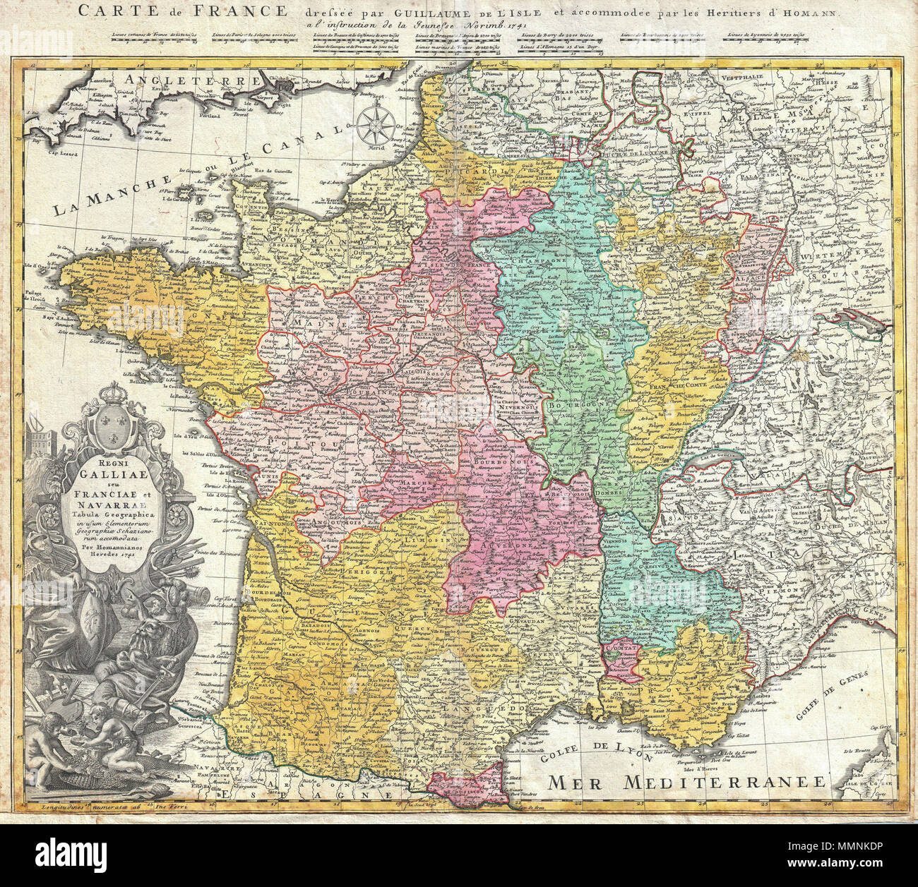 Map Of France For Children.Homann Heirs Map Of France Stock Photos Homann Heirs Map Of France