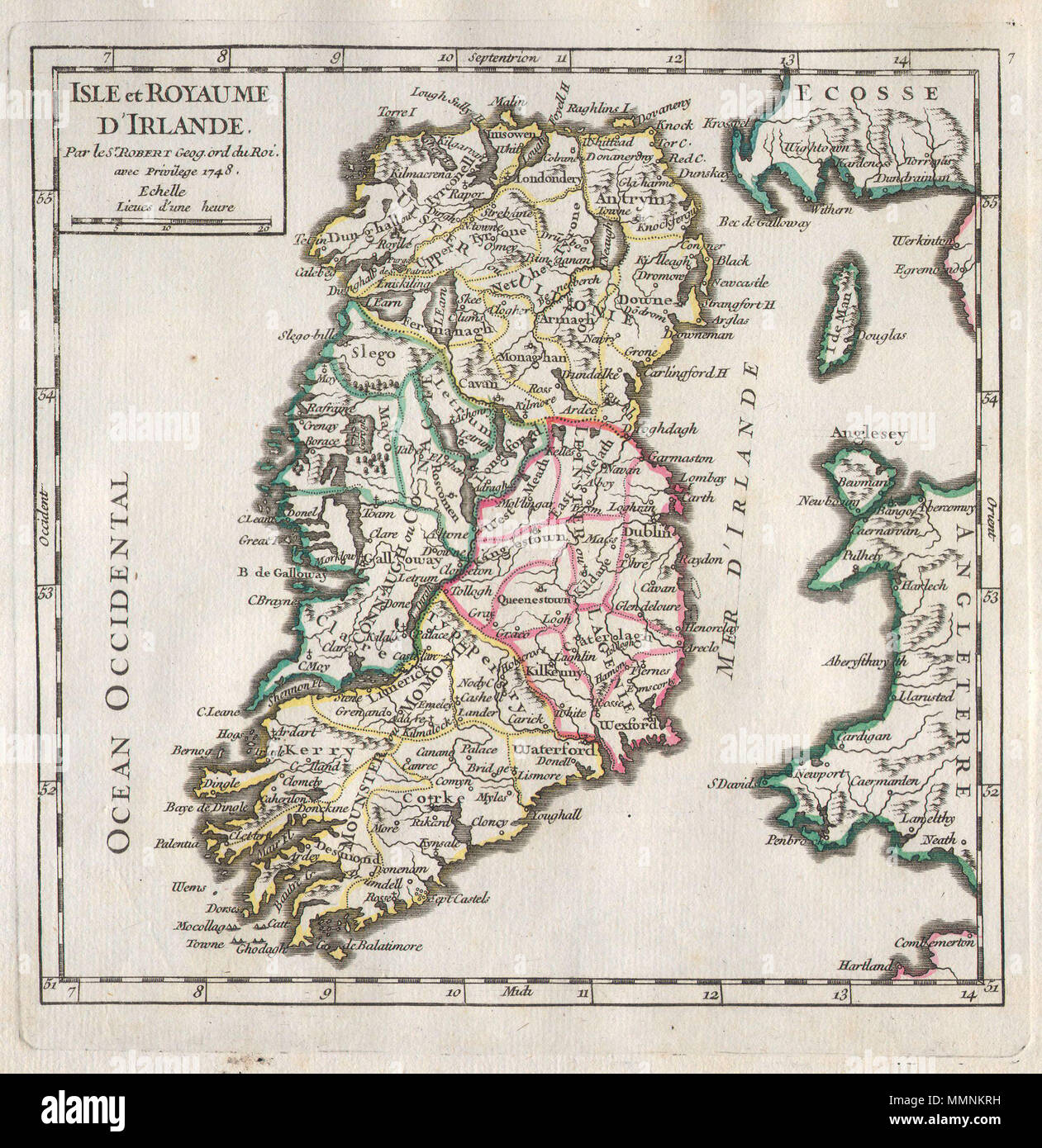 Regional Map Of Ireland.English A Rare And Beautiful 1748 Map Of Ireland By The French