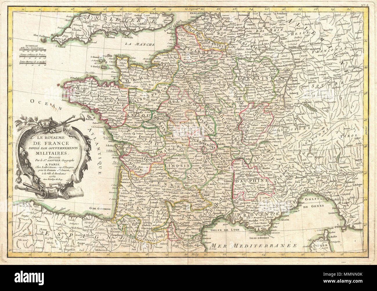 Regional Map Of France In English.English A Beautiful Example Of Jean Janvier S Decorative Map Of
