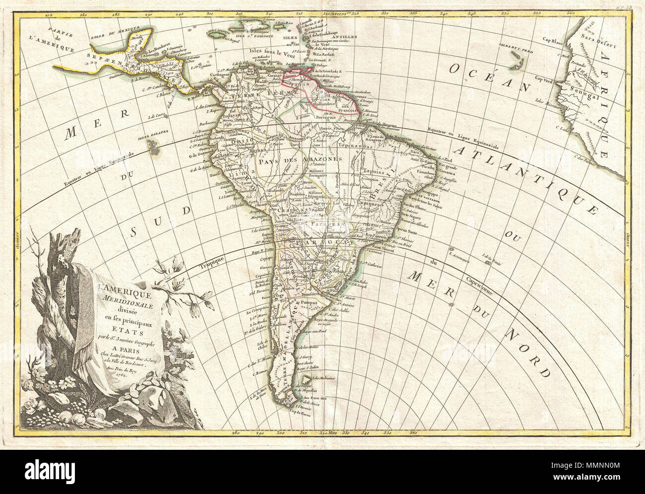 Cape Horn On South America Map.English A Beautiful Example Of Jan Janvier S 1762 Decorative Map Of