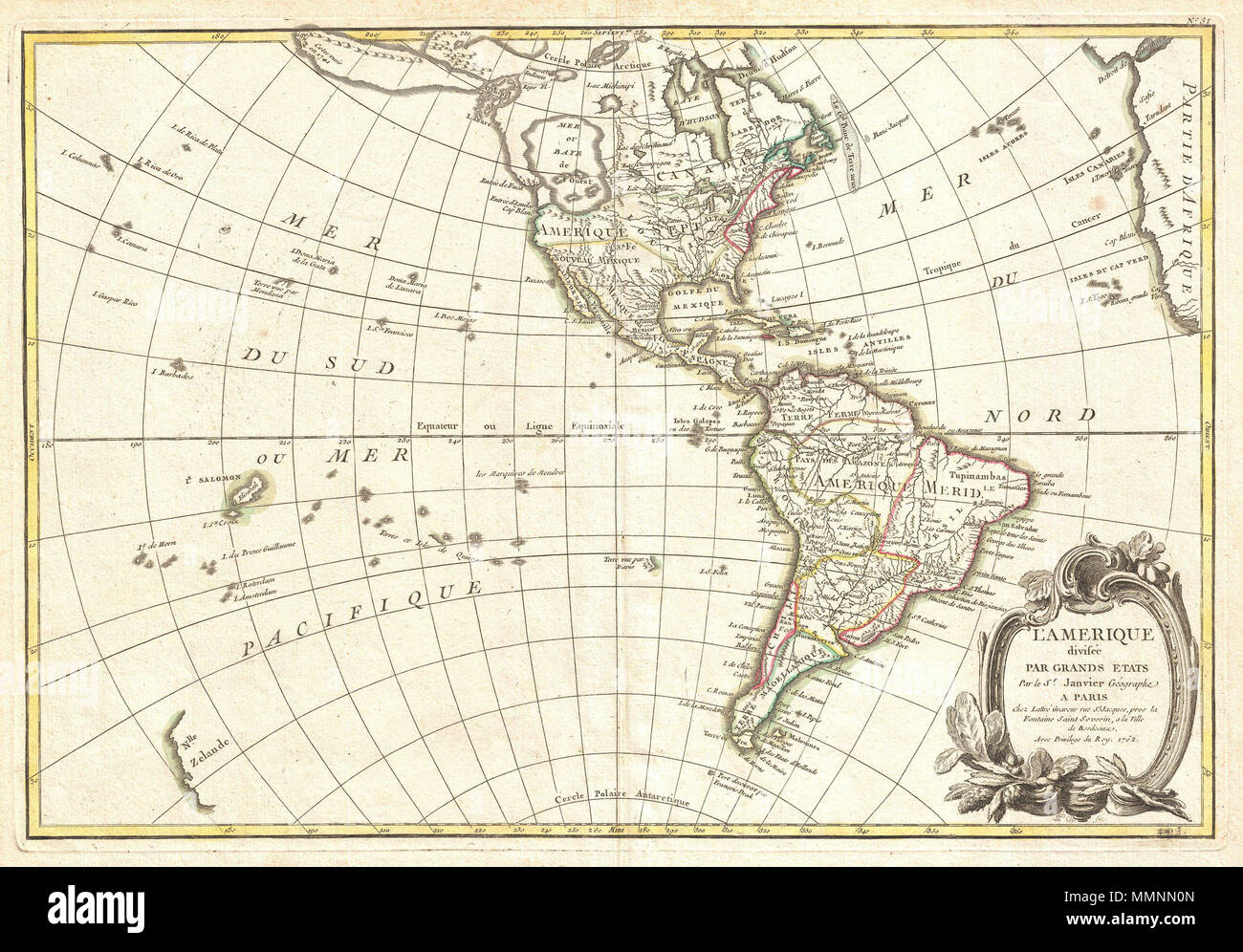 English: An altogether fascinating map of North America and South ...