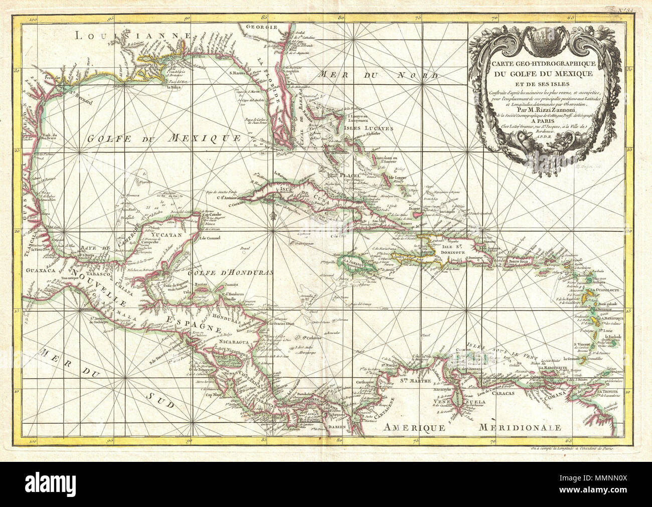 Map Of America Gulf Coast.English A Beautiful Example Of Zannoni S 1762 Map Of The West