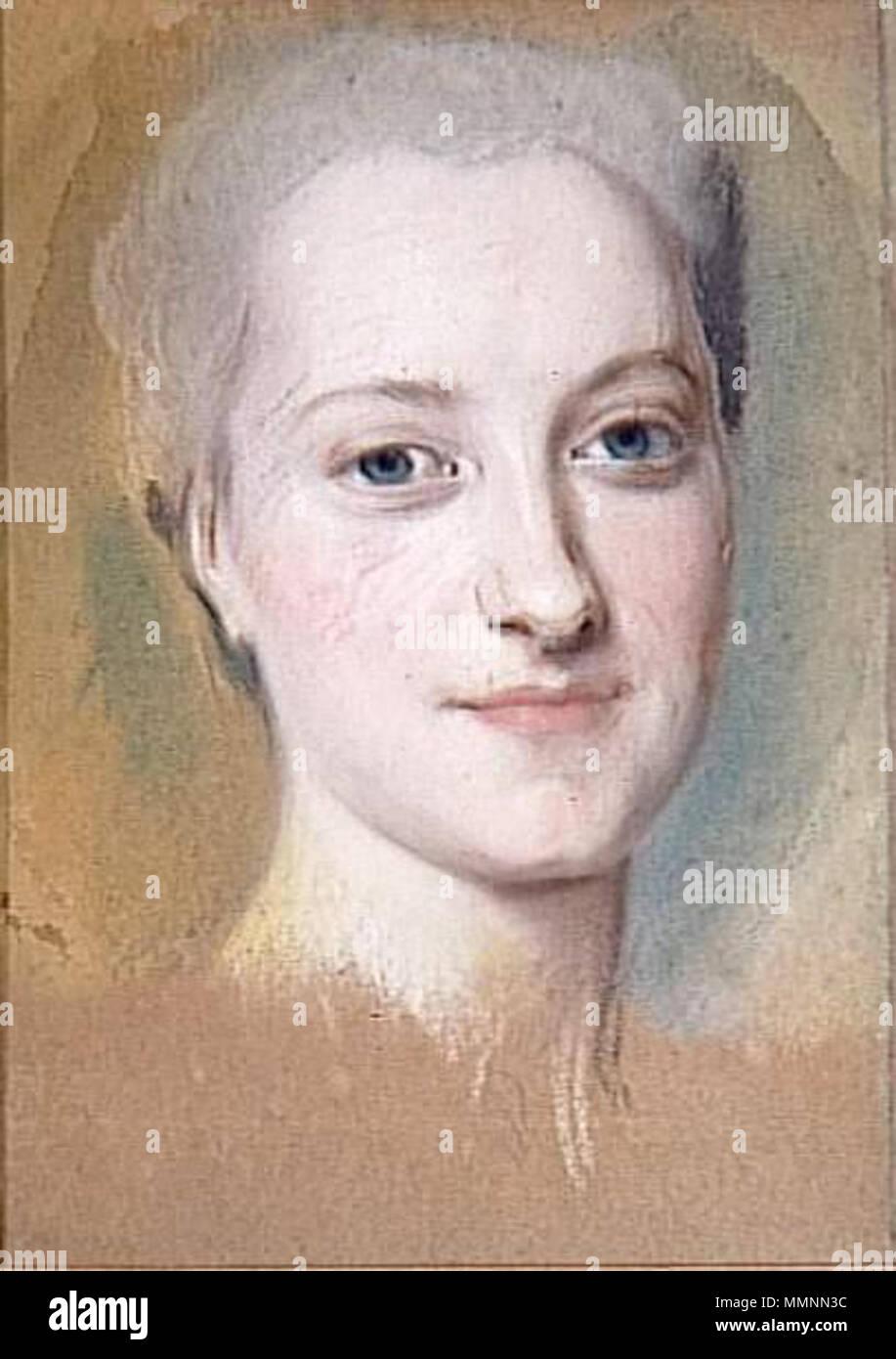 English: Princess Maria Christina of Saxony (1735–1782) Français: Princesse Marie-Christine de Saxe (1735–1782) ???????: ????????? ????? ???????? ?????????? (1735–1782) .  English: A preparatory study for the portrait (lost) exhibited at the Salon of 1763 Français: Une étude préparatoire pour le portrait (perdu) exposé au Salon de 1763 ???????: ???????????????? ???? ? ???????? (??????), ????????????? ? ?????? 1763 ???? . Maurice Quentin de La Tour, Princesse Marie-Christine de Saxe (c. 1762-1763) Stock Photo
