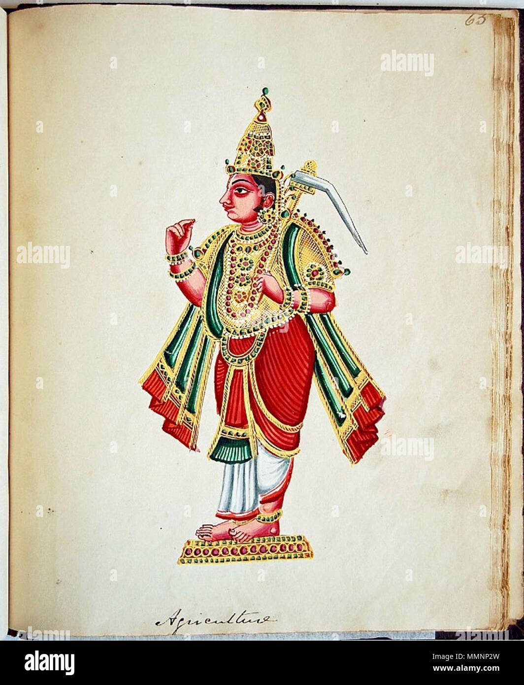 . English: Gouache painting on paper, part of an album of seventy paintings of Indian deities. Balarāma standing in profile on a low pedestal, carrying the hala (ploughshare), in his left hand. His right hand is empty. He wears a jewelled crown and kavacha (armour). Description Source   This is a faithful photographic reproduction of a two-dimensional, public domain work of art. The work of art itself is in the public domain for the following reason:  Public domainPublic domainfalsefalse    This work is in the public domain in its country of origin and other countries and areas where the copyr - Stock Image
