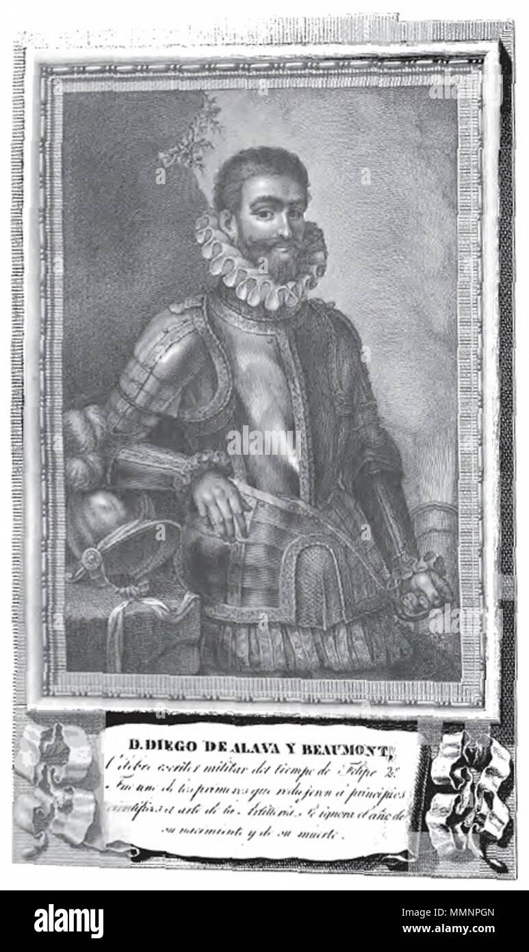 . Retrato de Diego de Alava y Beaumont.  . between 1809 and 1816. Dibujo de José Maea, grabado inacabado de Manuel Álvarez Diego de Alava y Beaumont - Stock Image