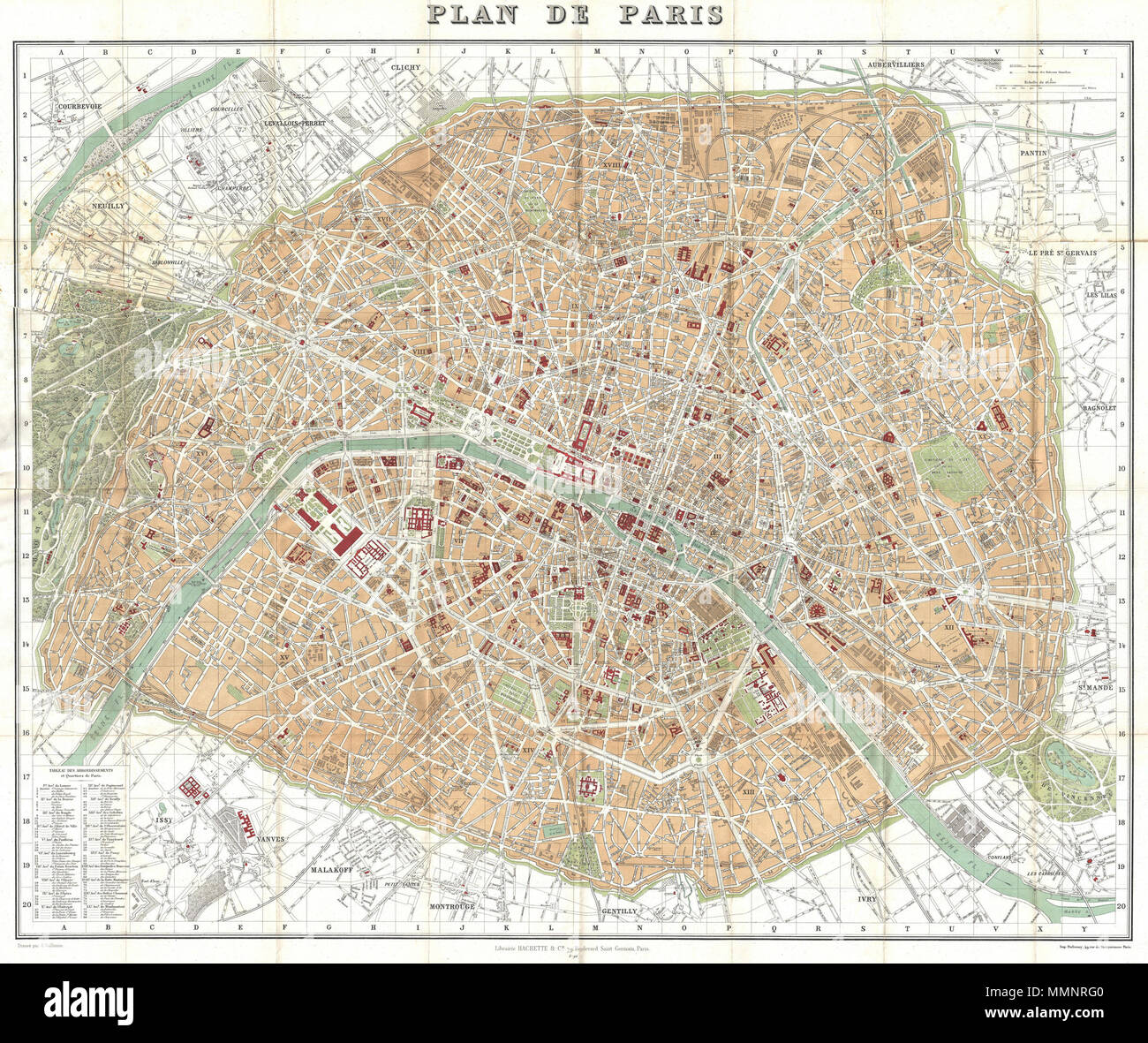 English: This is a large format folding map of Paris dating